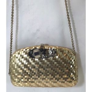 VTG RODO Embellished Gold Clutch Evening Bag